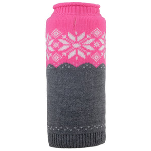 Girly Fuschia Ski Lodge Inspired Ultra-Soft Warm Double Knit Turtleneck Designer Pet Dog Sweater