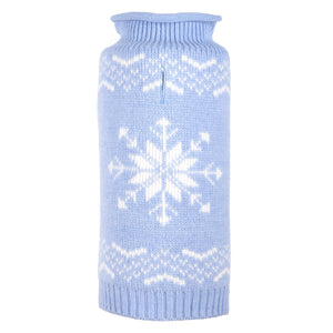 Icy Blue Snowflake Christmas Holiday Ultra-Soft Warm Turtleneck Double Knit Designer Pet Dog Sweater