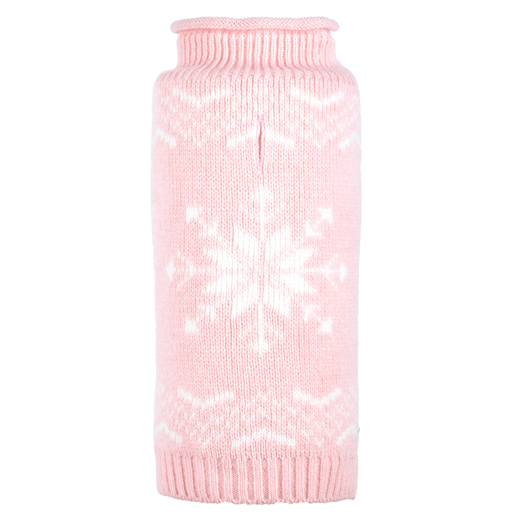 Pastel Icy Pink Snowflake Christmas Holiday Warm Turtleneck Double Knit Designer Pet Dog Sweater
