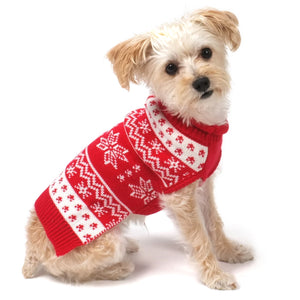 Snowflakes Red Roll Double Knit Designer Turtleneck Designer Pet Dog Sweater