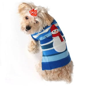Snowman Holiday Christmas Double Knit Designer Turtleneck Pet Dog Sweater