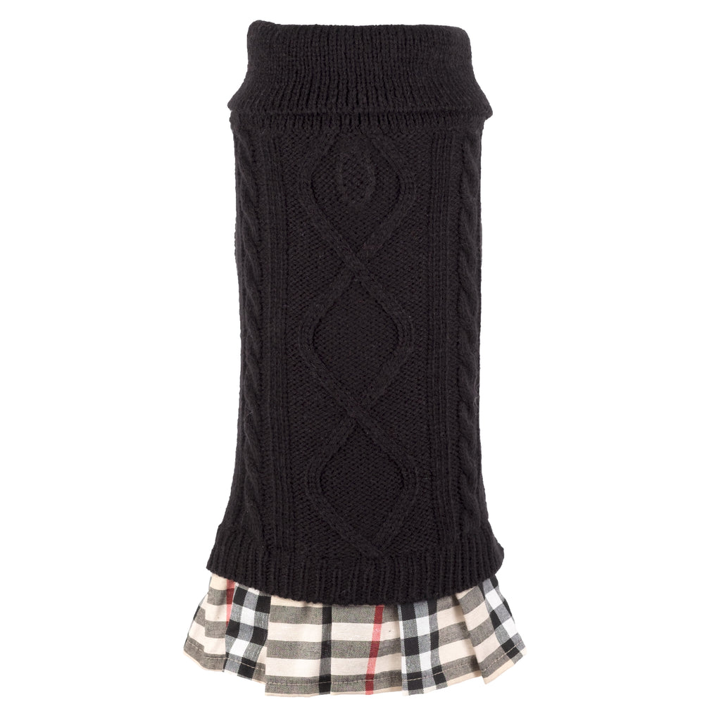 Tan Plaid & Black Ultra-Soft Acrylic Woven Double Knit Designer Turtleneck Designer Dog Sweater Dress