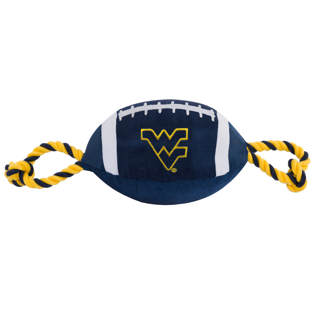 West Virginia University Nylon Football Squeaker Tug Rope Dog Toy