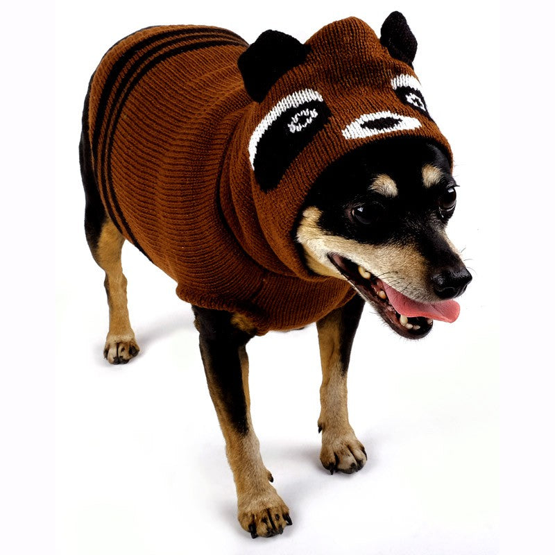 Double Knit Designer Hoodie 100% Ultra-Soft Acrylic Warm Pet Dog Sweater Costume - Ricky The Racoon