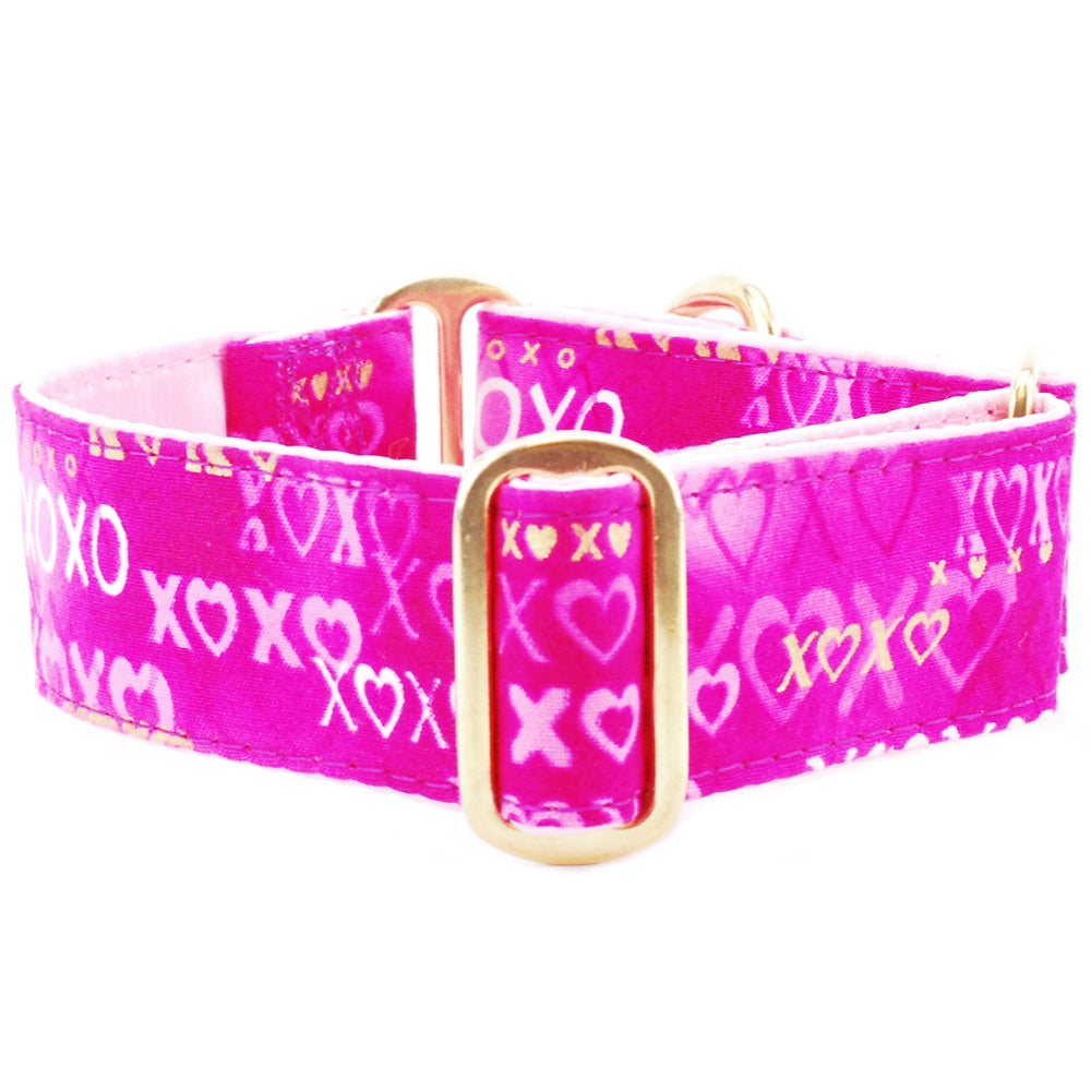 XOXO Pink Valentine Love Satin-Lined with Top-of-the-Line Brass Hardware Luxury Designer Handmade Dog Collar