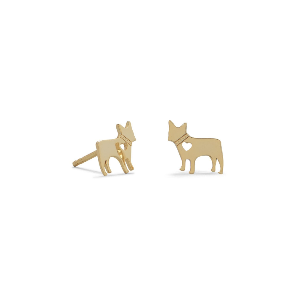 14 Karat Gold Plated Darling Dog Earring Studs