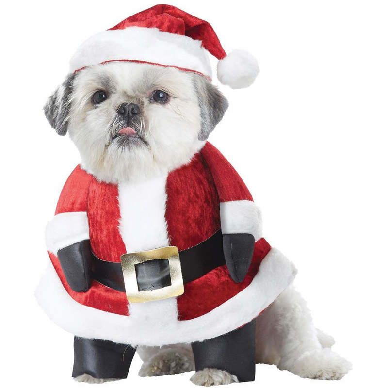 Funny & Hilarious Santa Claus Moving Paws Red Velvet Suit with Hat Pet Dog Costume - Large