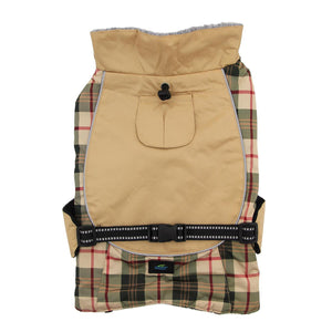 Alpine All-Weather Waterproof Tough Warm Fleece-Lined Dog Coat Jacket - Tan & Red Plaid