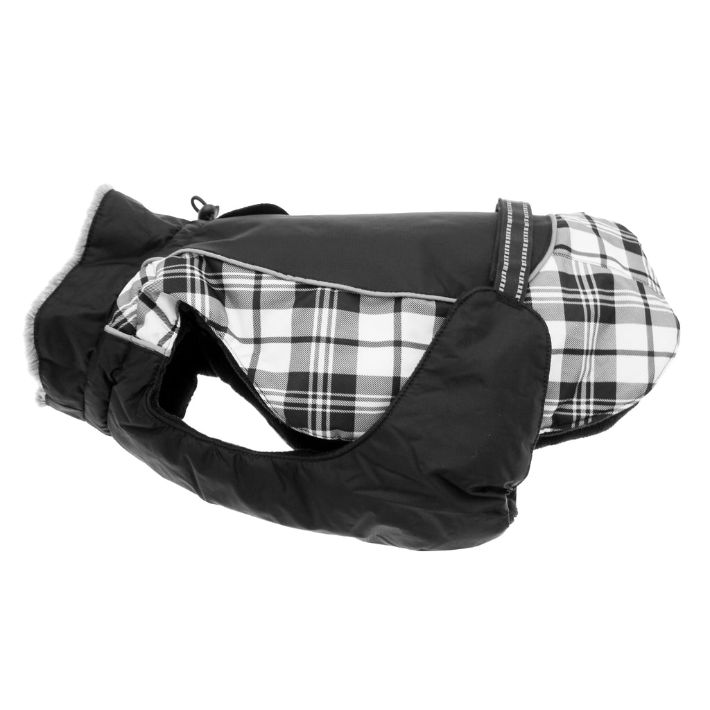 Alpine All-Weather Waterproof Fiber-Fill Warm Dog Coat Jacket - Black & White Plaid