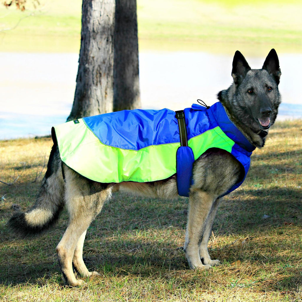 Alpine All-Weather Tough Waterproof Fiber-Filled Warm Fleece Designer Winter Dog Coat Jacket - Blue & Green