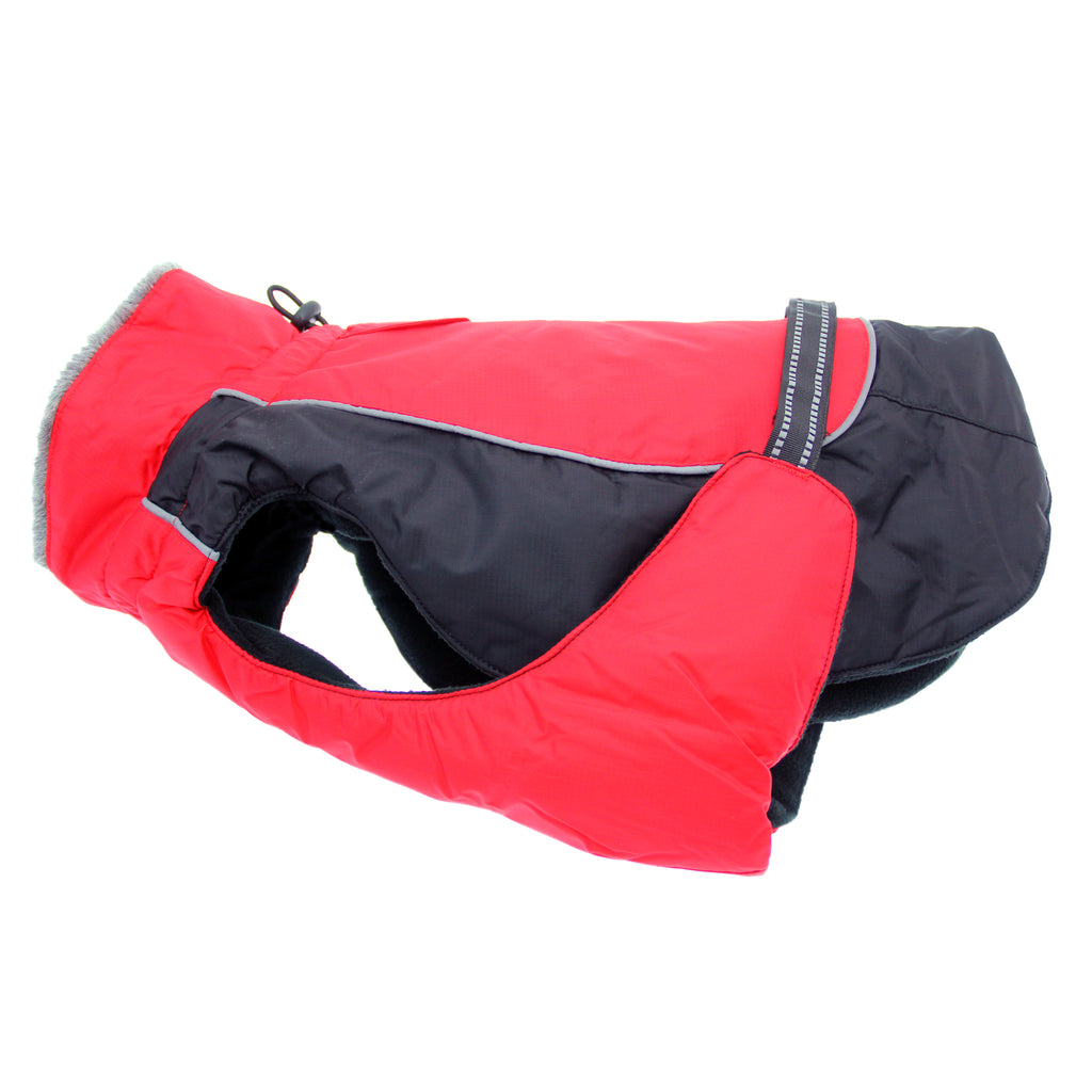 Alpine All-Weather Tough Waterproof Fiber-Filled Warm Fleece Dog Coat Jacket - Red & Black