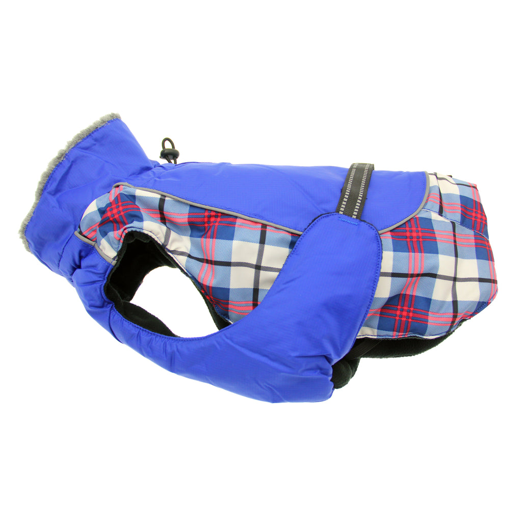 Alpine All-Weather Tough Waterproof Fiber-Filled Warm Fleece Designer Dog Coat Jacket - Royal Blue Plaid
