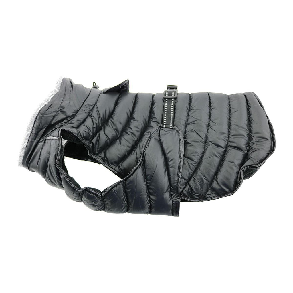 Black Alpine Outdoor Extreme Weather Warm Fiber-Insulated Puffer Designer Winter Dog Coat