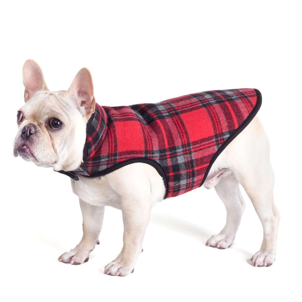 Alpine Red Plaid Wind-Resistant Bonded Sherpa Winter Warm Designer Dog Jacket
