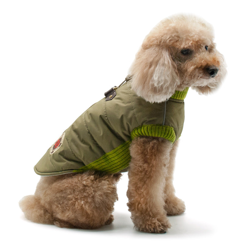 K9 Patch Army Green Athletic Runner Waterproof Warm Designer Dog Coat Jacket