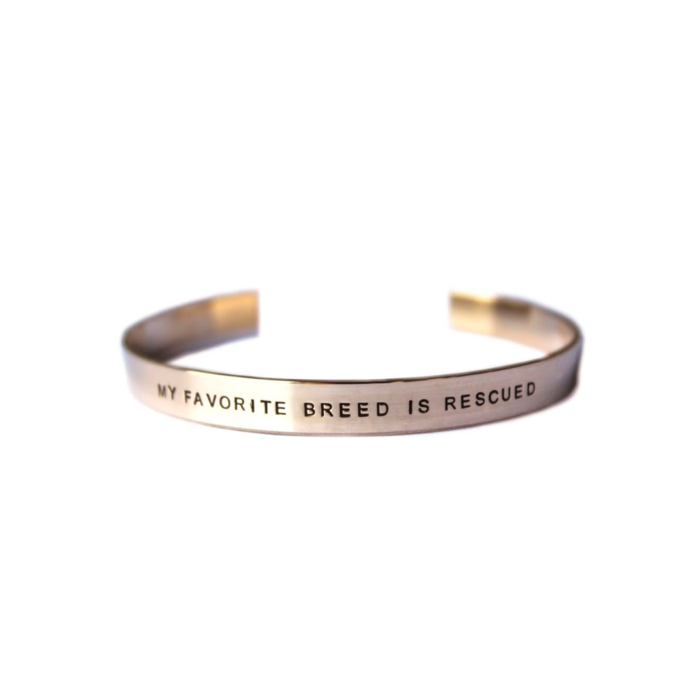 """MY FAVORITE BREED IS RESCUED"" - Pet Cat / Dog Lovers Women's Cuff Bracelet"