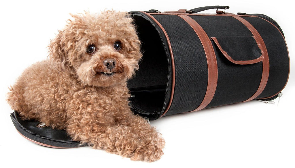 Bark Avenue Cylindrical Airline Approved Designer Heavy-Duty Tough Modern Pet Dog Bag Carrier