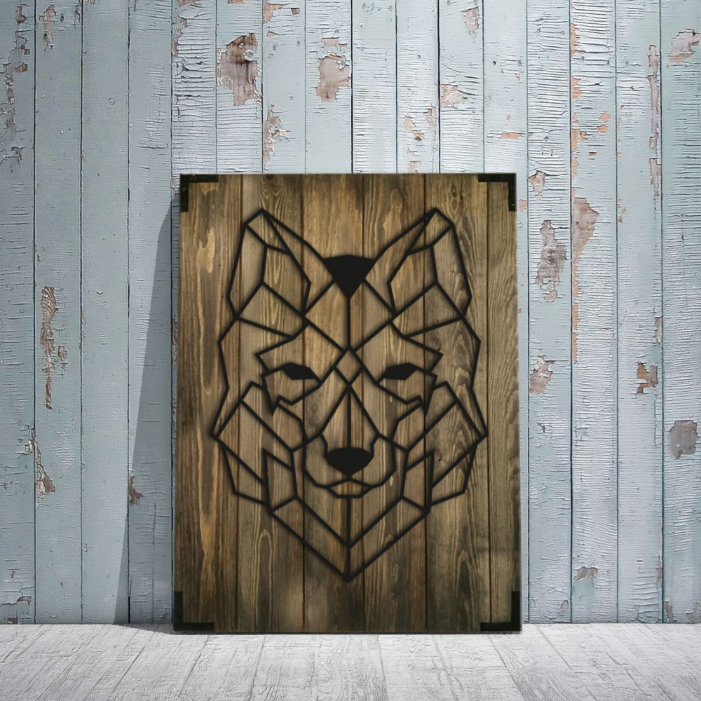 Husky Wolf Face Wooden Wall Art