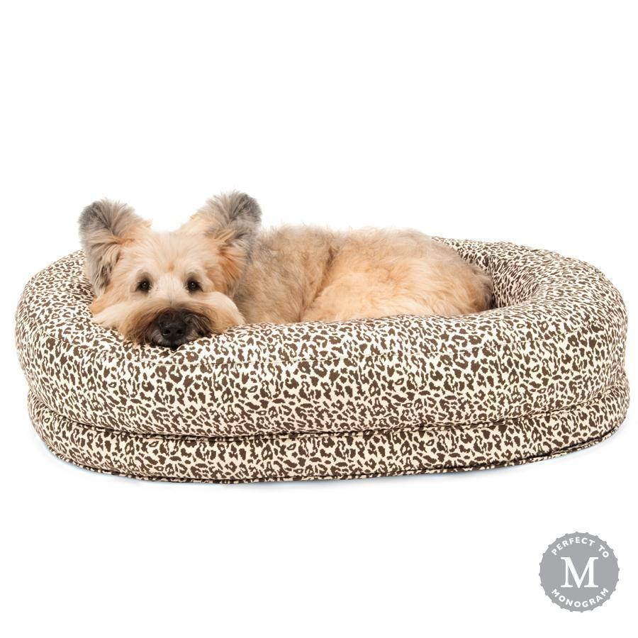 Harry Barker Designer Martello Bolster Oval Orthopedic Brown Leopard Dog Bed (Personalize with Dogs Name)