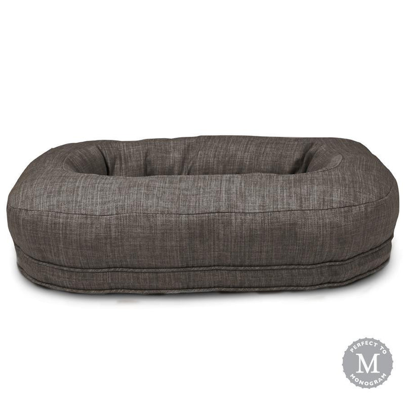 Harry Barker Designer Martello Bolster Oval Orthopedic Dark Grey Dog Bed (Personalize with Dogs Name)