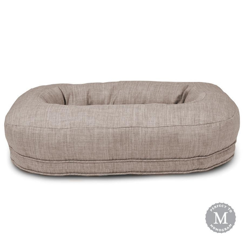Harry Barker Designer Martello Bolster Oval Orthopedic Light Grey Dog Bed (Personalize with Dogs Name)