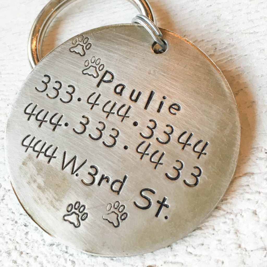 Big Foot Artisan Handstamped Pet Dog ID Tag (Personalize)