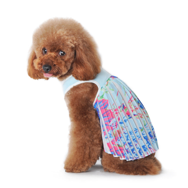 PP Blue Hawaii Pleated Designer Dog Dress