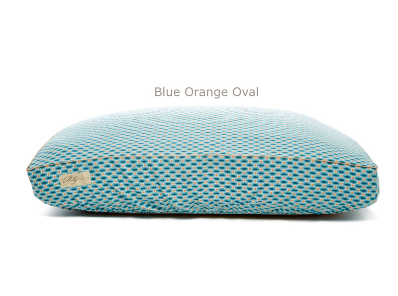 Blue Orange Oval Deluxe Fitted Linen Cover for B&G Martin Pet Beds
