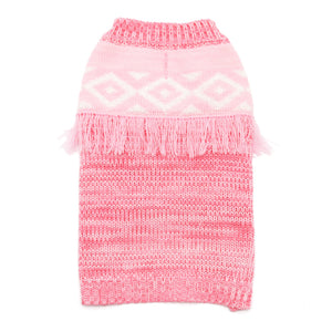 Girly Pink Hippy Boho Fringe Trim Retro Style Mix Knit Warm Designer Pet Dog Sweater