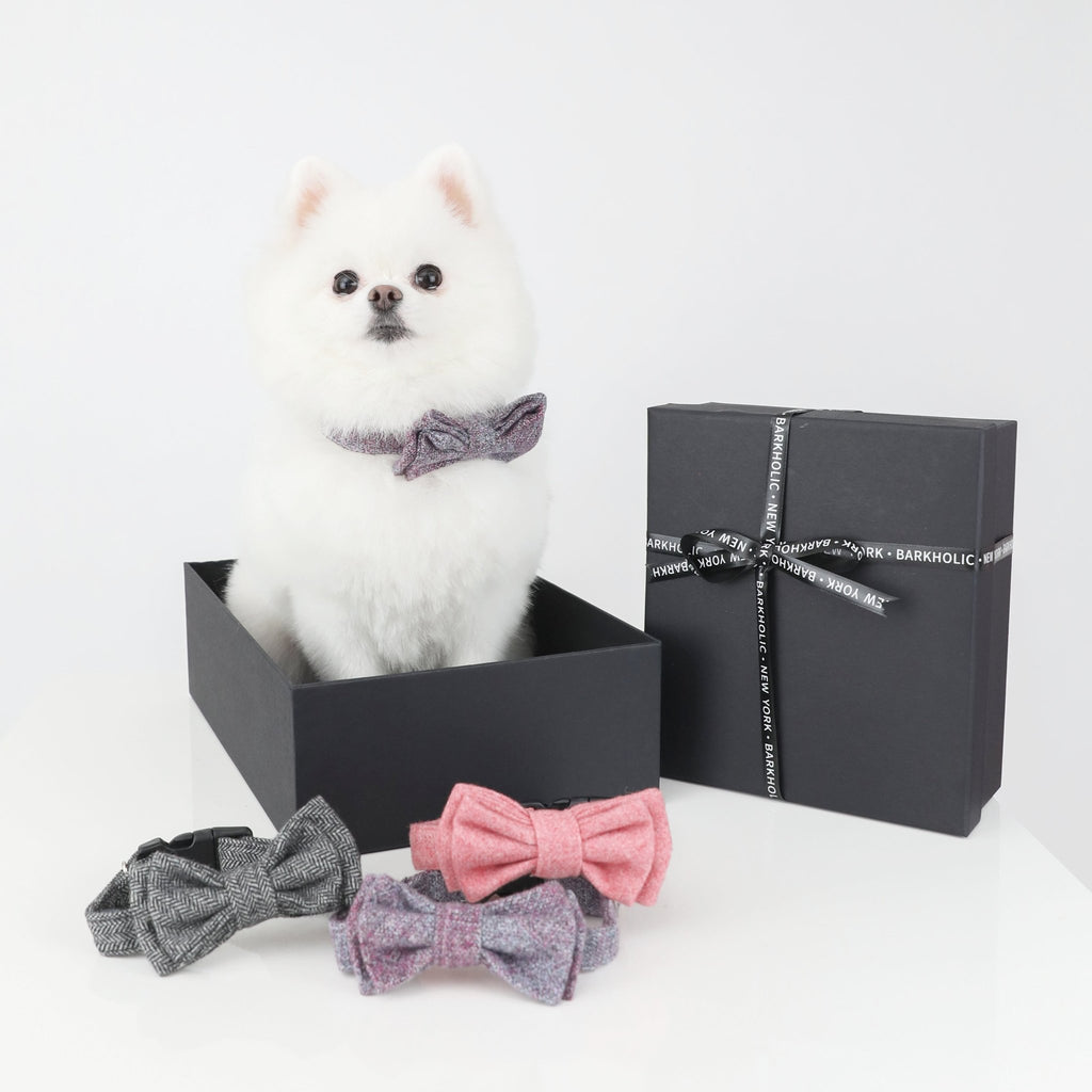All Seasons Barkholic Designer Pink Grey & Purple Dog Bow Tie Collar Bundle Set of 3