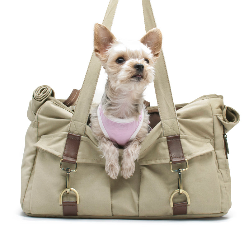 Designer Modern Soft Canvas Beige Buckle Tote Pet Cat & Dog Carrier Bag Purse