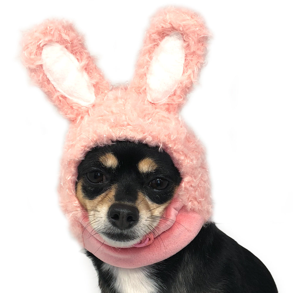 Pink Bunny Ears with Pull String Ultra-Soft Fluffy Warm Designer Pet Dog Hat Costume