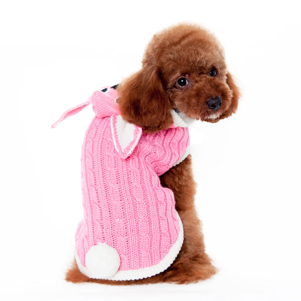 Pink Bunny Hoodie with Pom Pom Tail Ultra-Soft Warm Designer Pet Dog Sweater Costume
