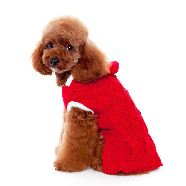 Red Cable Knit Hoodie Soft & Warm Cozy Designer Sweater Girl Pet Dog Dress