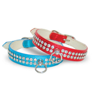 Celebrity Red Metallic Rhinestone Studded with Center Ring Tag Holder Cat & Dog Collar