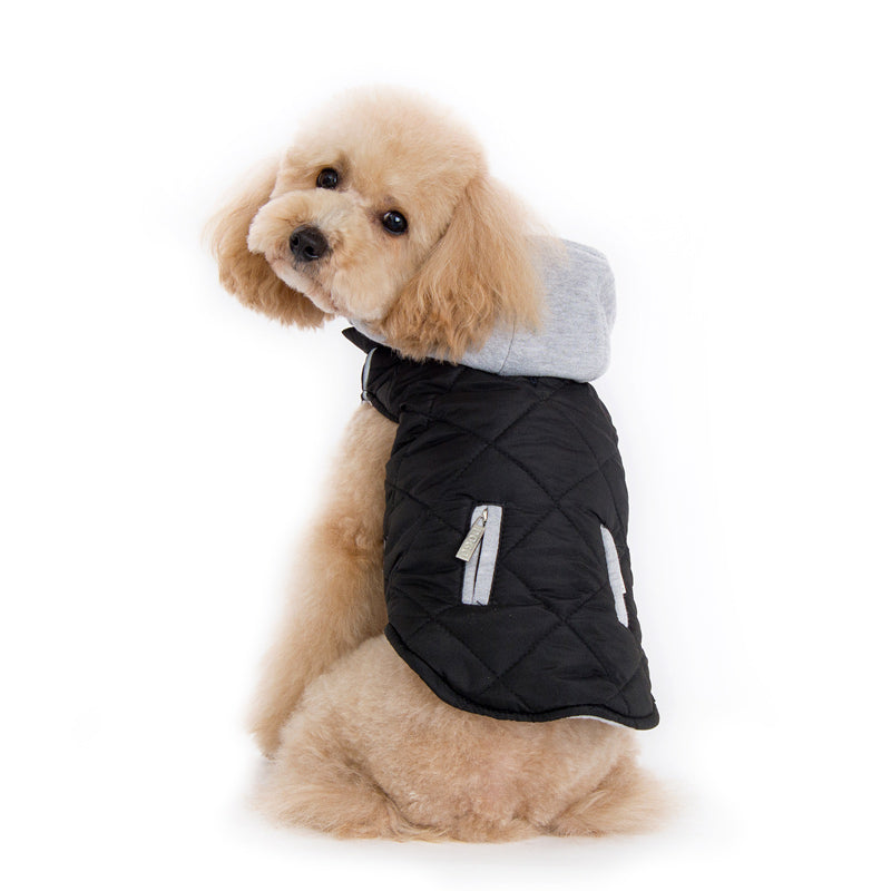 Black Hipster City Puffer Modern Quilted Pattern SweatShirt Hooded Designer Dog Jacket