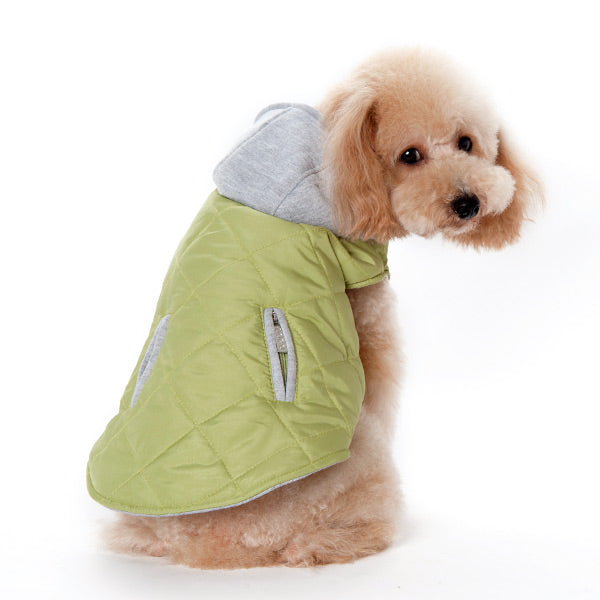 Green Modern City Puffer Quilted Pattern SweatShirt Hoodie Designer Dog Coat Jacket