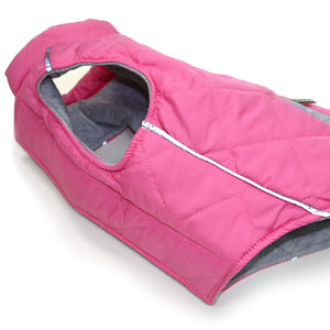 Pink Modern City Puffer Quilted Pattern SweatShirt Hoodie Warm Designer Dog Coat Jacket