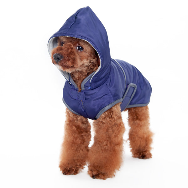 Purple Water-Resistant Fleece Hooded Warm Winter Designer Dog Jacket TrenchCoat