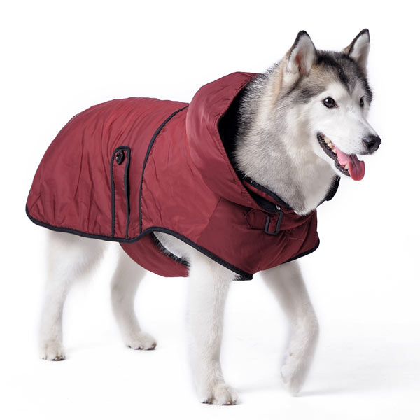 Maroon Fleece Water-Resistant Fleece Hooded Designer Warm Winter Dog Trench Coat Jacket