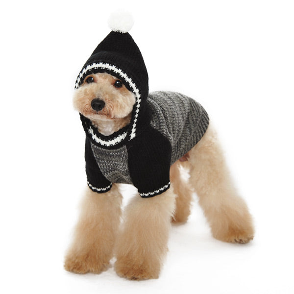 Contrast Black & Grey Hoodie Super-Soft Mix Knit PomPom Pullover Designer Pet Dog Sweater