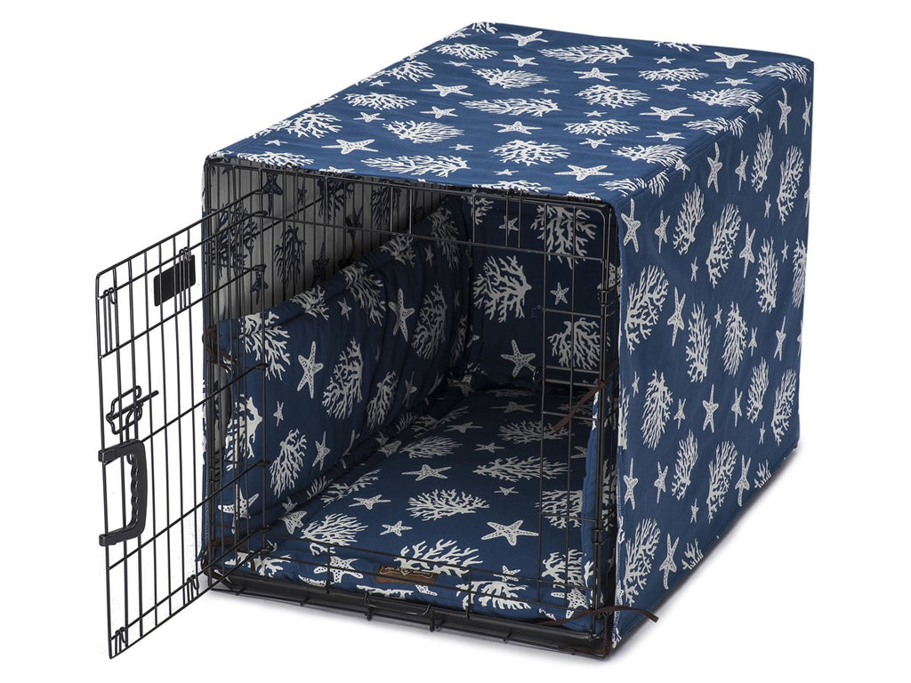 Cove Navy Dog Crate Cover Up Set USA Made by Jax and Bones
