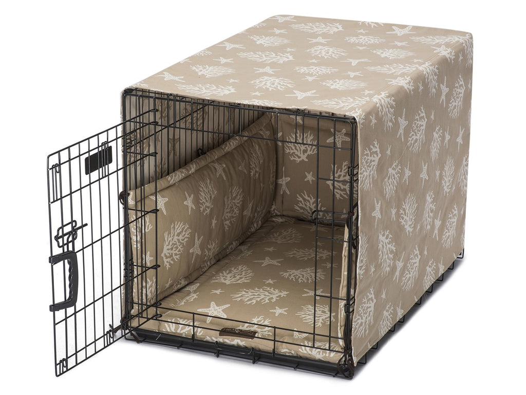 Cove Sand Tan Dog Crate Cover Up Set USA Made by Jax and Bones