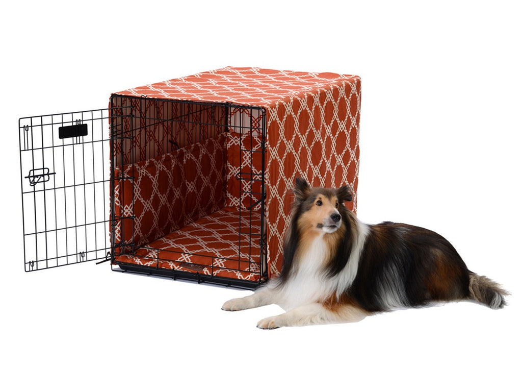 Kratos Spice Orange Dog Crate Cover Up Set USA Made by Jax and Bones