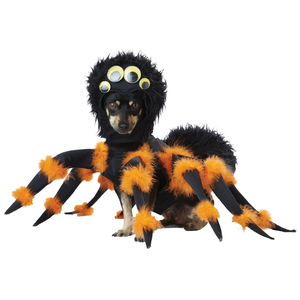 Exquisitely Designed Spider with Legs and Googly Eyes Headpiece Halloween Pet Dog Costume - Large