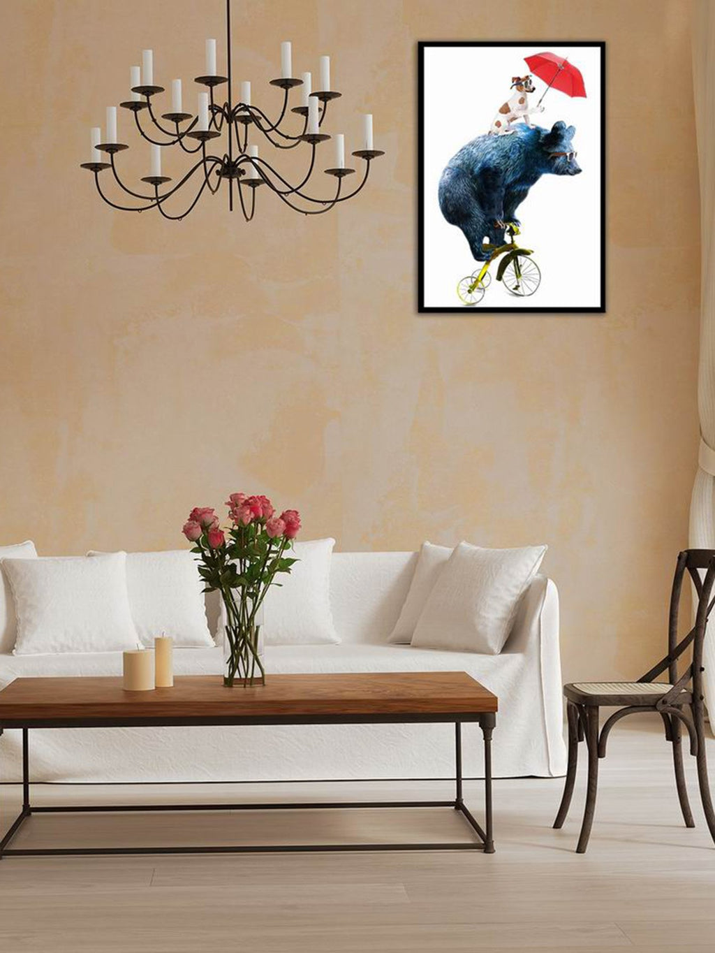 Bear & Dog Print Cloth Wall Art
