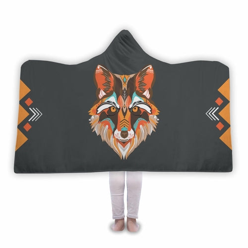 Wolf Sherpa Hooded Blanket