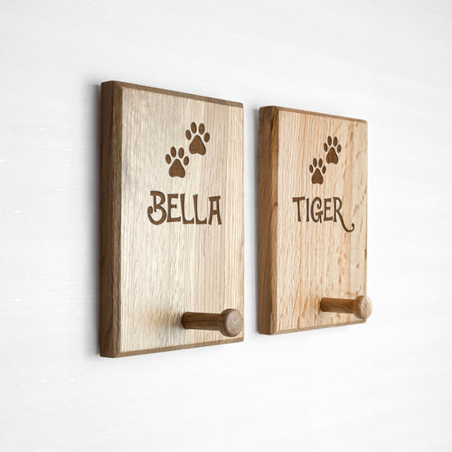 Paw Print Wooden Peg Hook Leash Wall Mount (Personalize)
