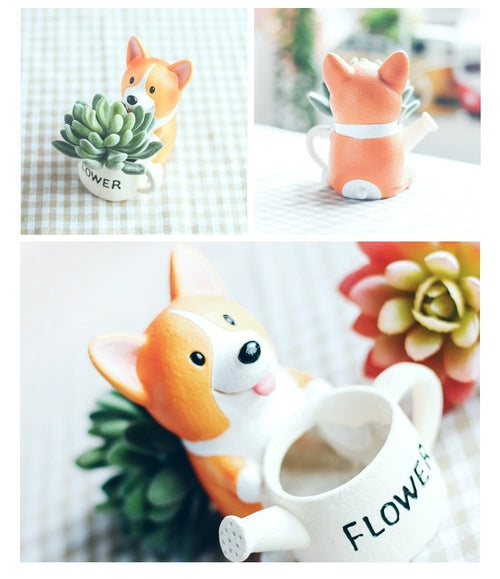 Corgi Resin Flower Pots