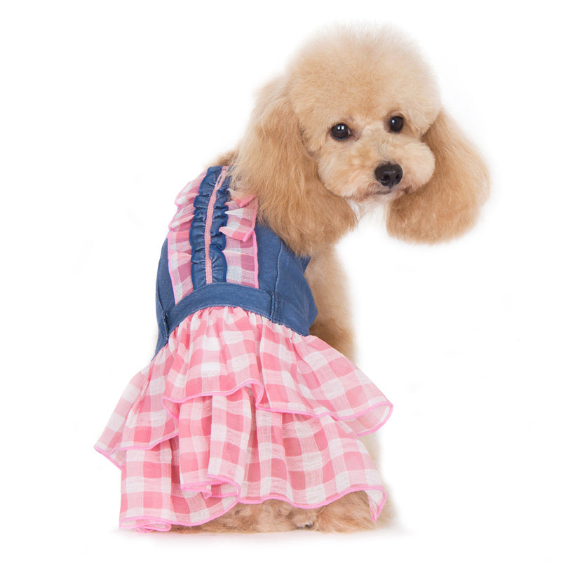 Denim Chic Pink Check Plaid Designer Dog Dress